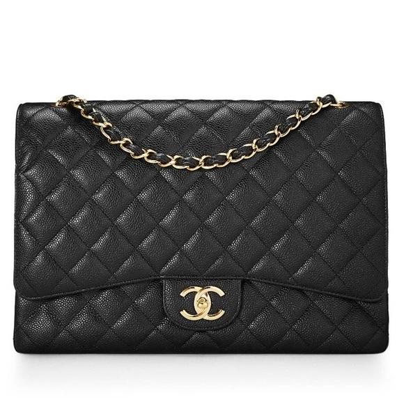 CHANEL Handbags - Authentic CHANEL Maxi Double Flap Bag Caviar GHW